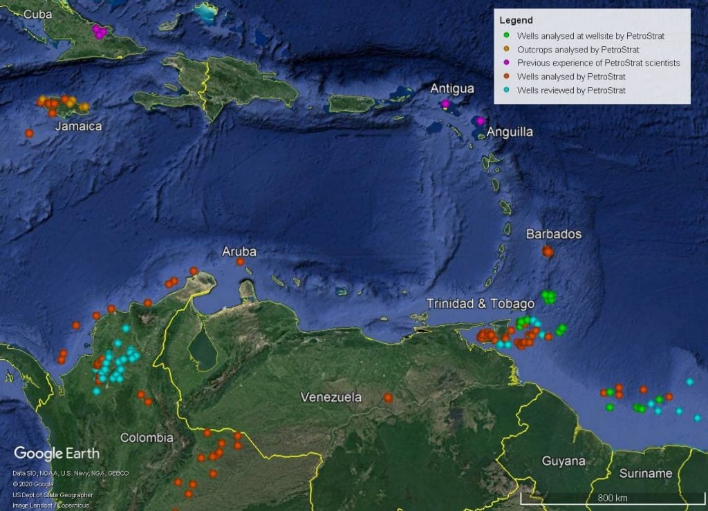 Petrostrat Caribbean Global Biostratigraphy Experience Well Map