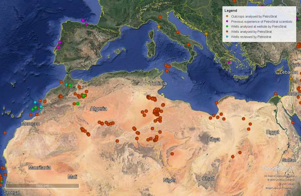 Petrostrat North Africa Global Biostratigraphy Experience Well Map Algeria Morocco Tunisia Libya Egypt